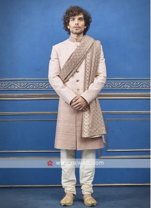 Light pink colour indo-western with matching dupatta