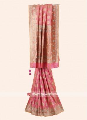 Designer Light Pink Saree