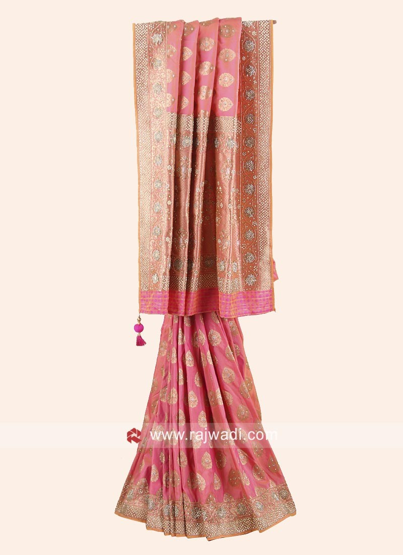 Designer Light Pink Saree