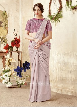designer lilac color saree