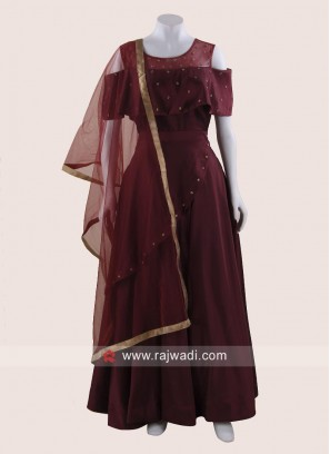 Designer Maroon Cold Shoulder Gown with Dupatta