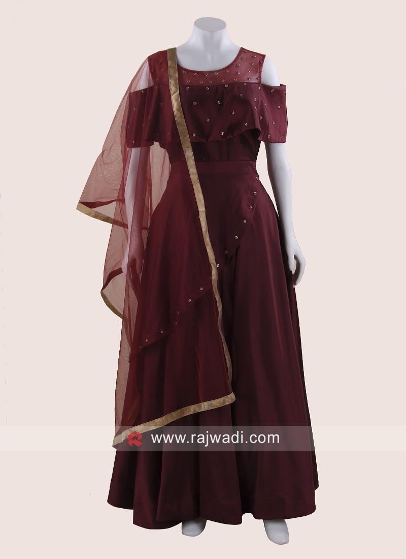 Designer Maroon Cold Shoulder Gown with Dupatta