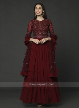 Designer Maroon Color Anarkali Suit With Dupatta