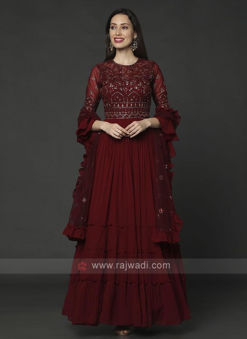 Designer Maroon Color Anarkali Suit With Dupatta