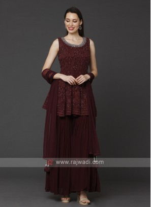 Designer Maroon Color Gharara Suit