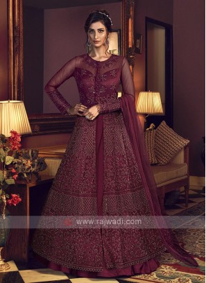 Designer maroon color salwar suit