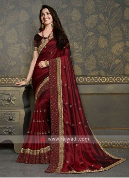 Designer Maroon Color Saree