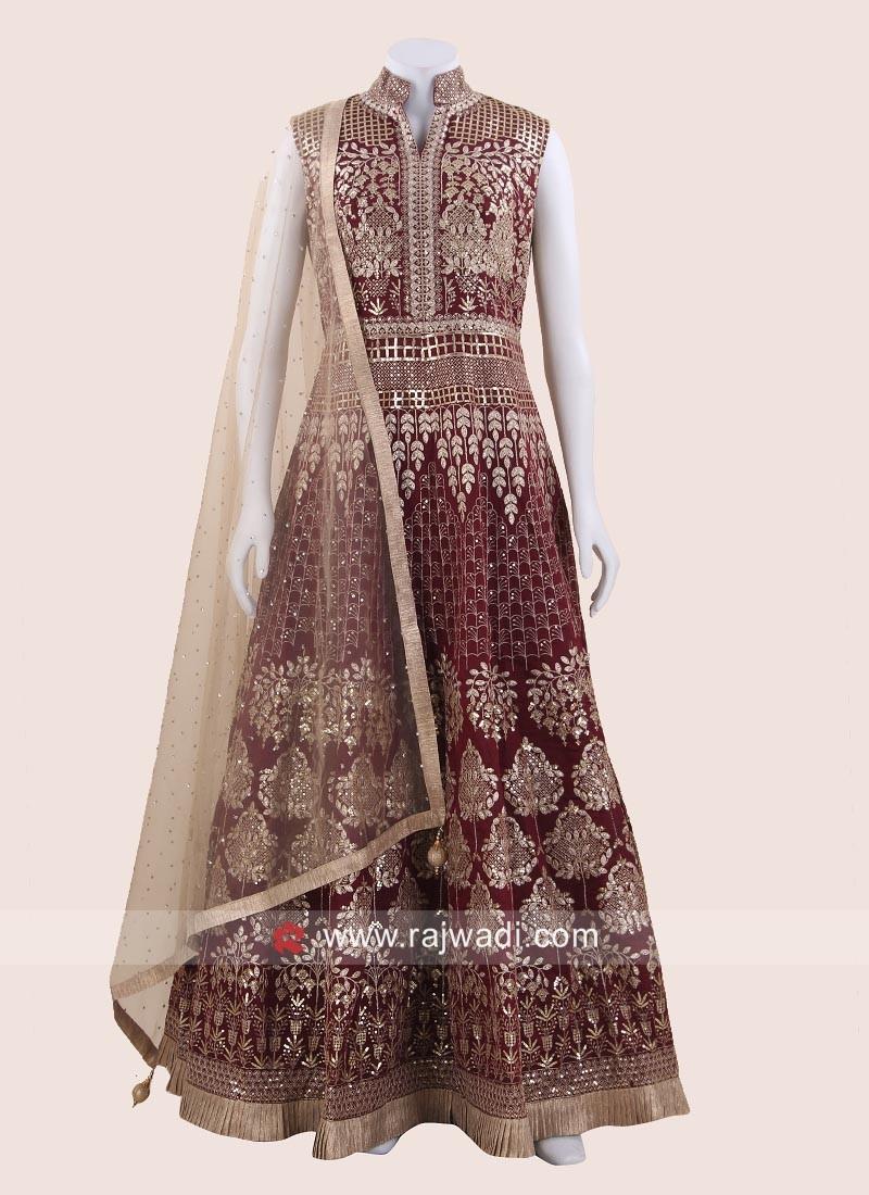 Designer Maroon Heavy Anarkali Dress