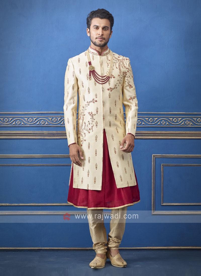 Designer maroor and cream sherwani