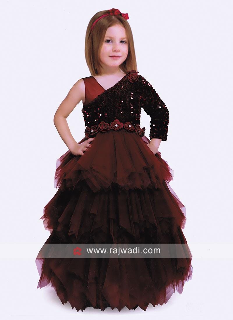 Designer Maroon Gown For Girls