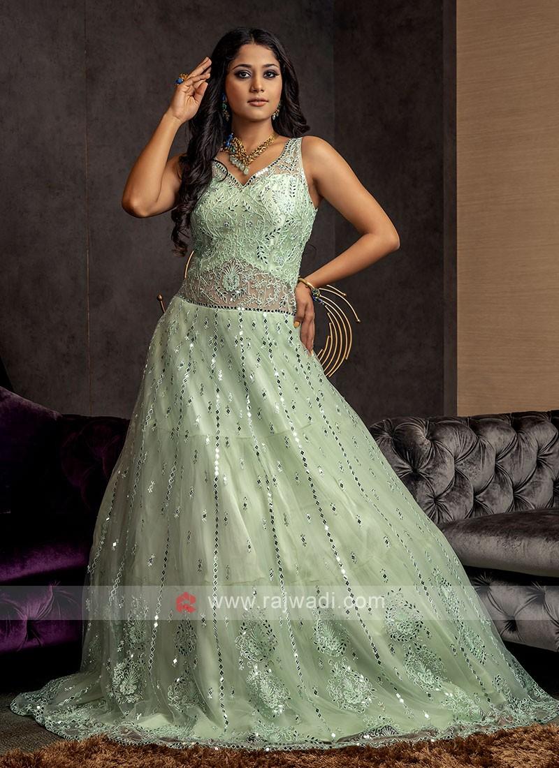 Designer Mirror Work Net Gown