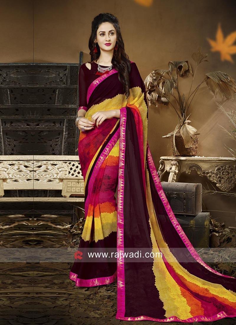 Designer Multicolor Casual Saree