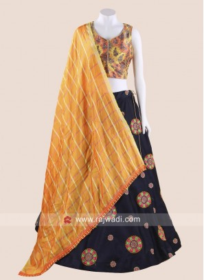Designer Mustard Yellow and Navy Blue Chaniya Choli