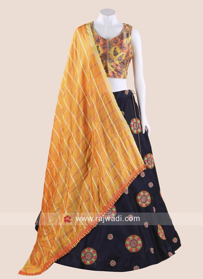 Designer Mustard Yellow and Navy Blue Chaniya Choli