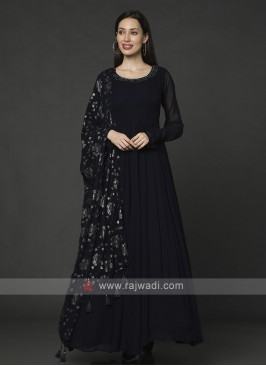 Designer Navy Blue Anarkali Suit With Dupatta