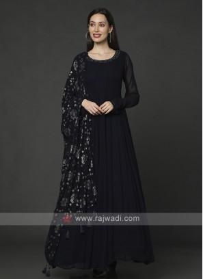 Designer Navy Blue Anarkali Suit With Dupatta