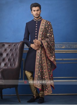 Designer navy blue and golden colour indo-western with dupatta