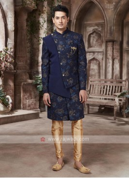 Designer Navy Blue And Golden Indo-western