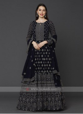Designer Navy Blue Color Anarkali Suit With Dupatta