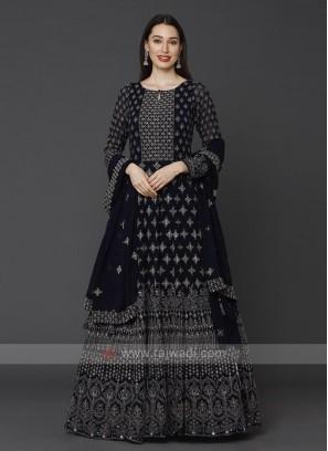 Designer Navy Blue Color Anarkali Suit With Dupatta