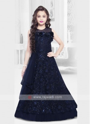 Designer Navy Blue Girls Gown
