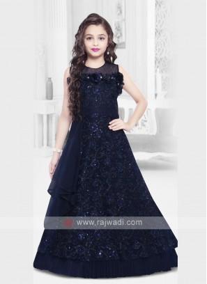 Designer Navy Blue Girls Gown