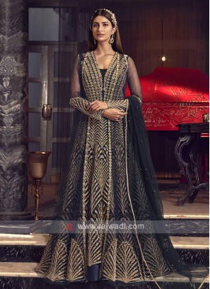 Designer navy blue color salwar suit
