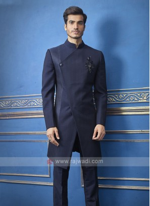 Designer Navy Blue Colour Indo-western