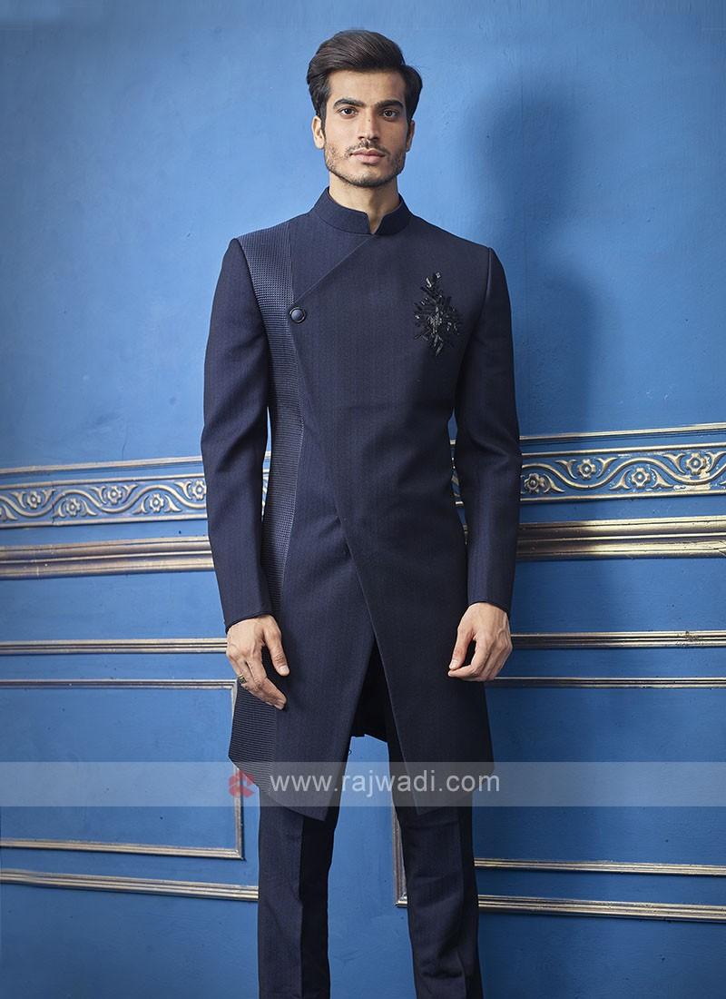 Designer Navy Blue Colour Indo-western