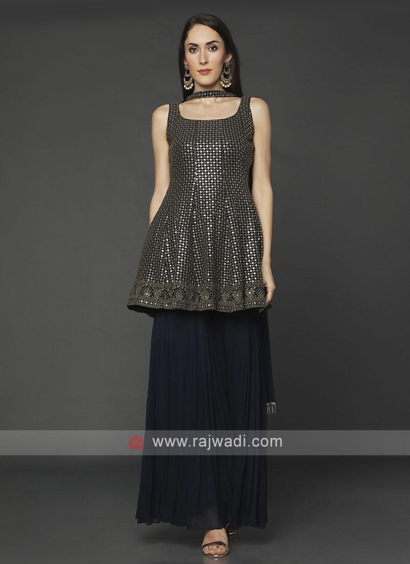 Designer Navy Color Gharara Suit