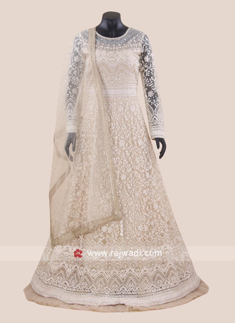 Designer Net Anarkali Suit in Cream