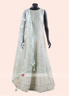 Designer Net Anarkali Suit with Dupatta