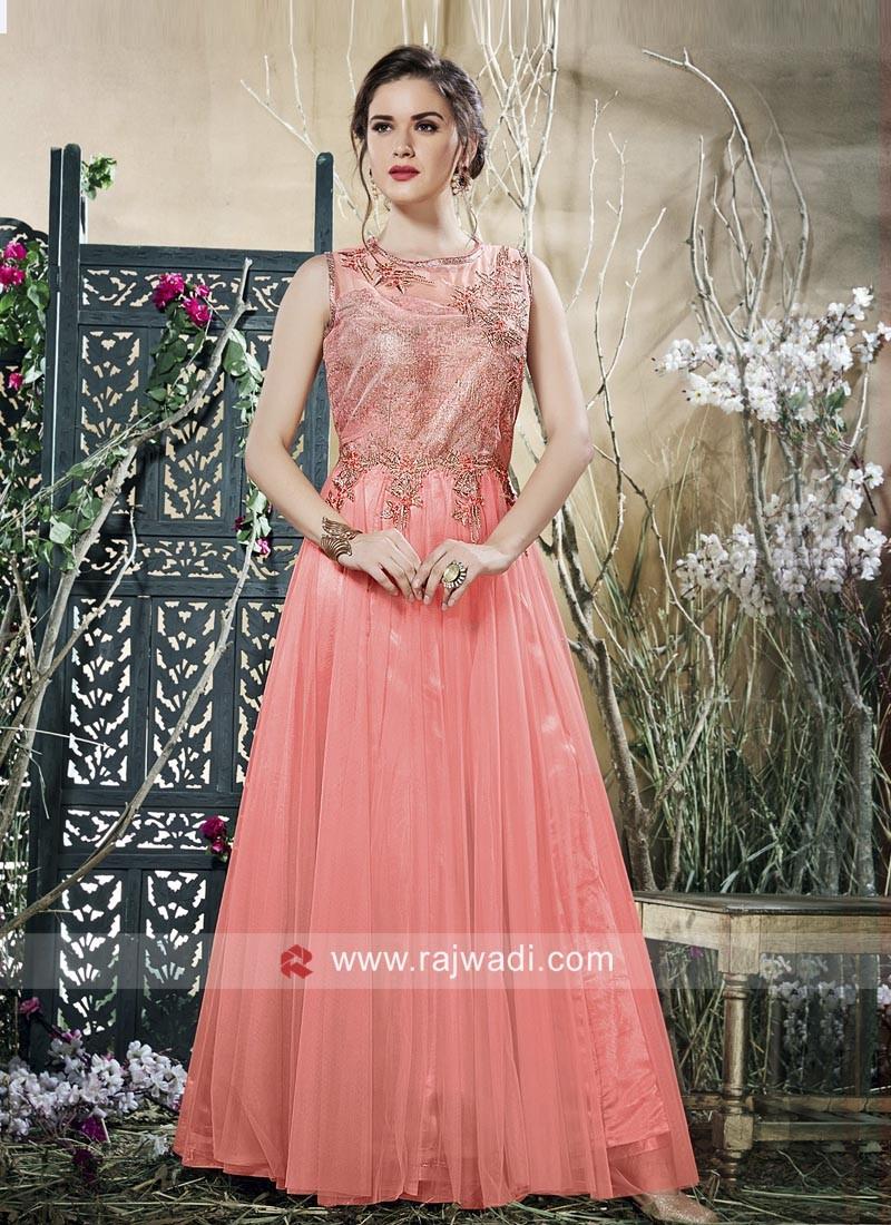 Designer Net Dark Peach Gown