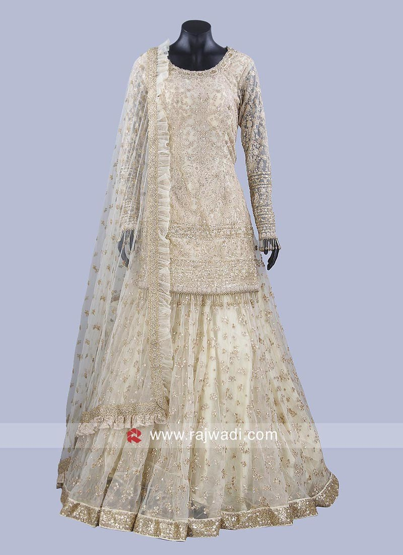 Designer Net Golden Cream Lehenga Choli