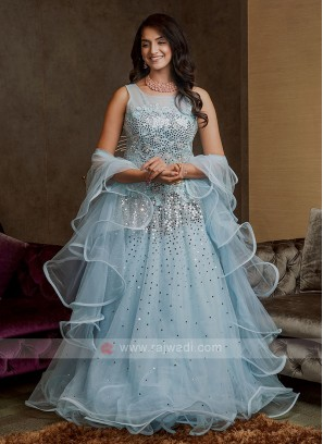 Designer Net Gown In Sky Blue