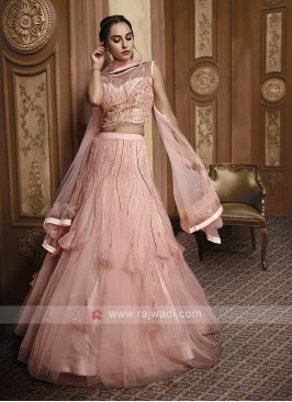 Designer Net Lehenga Choli In Peach Color