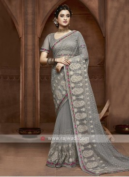 Designer Net Saree In Grey
