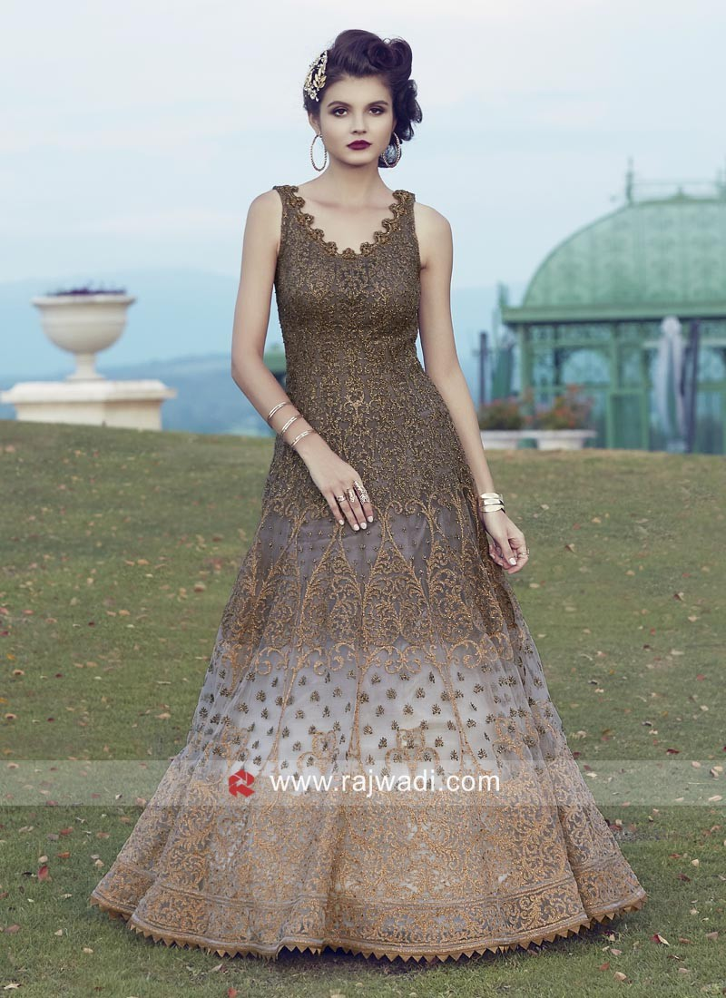 Designer Net Shaded Anarkali Suit