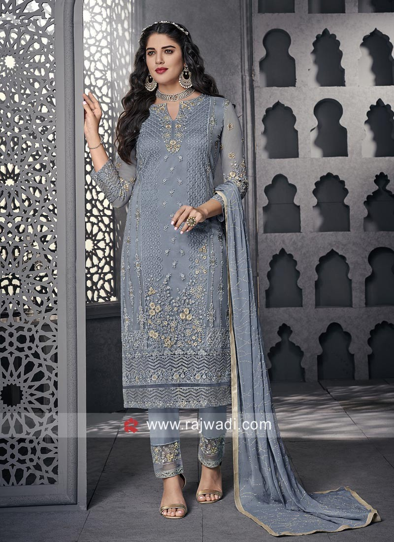 Designer Net Trouser Suit With Chiffon Dupatta