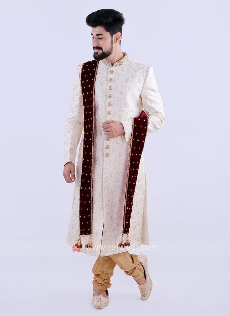 Designer Off White And Golden Colour Sherwani