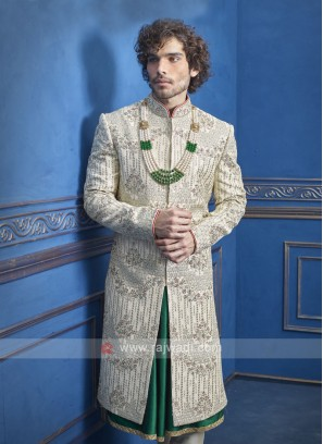 Designer off white and green sherwani