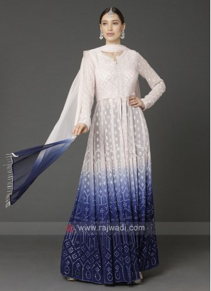 Designer Off-white & Blue Color Palazzo Suit