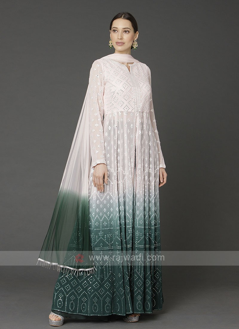 Designer Off-white & Green Color Palazzo Suit