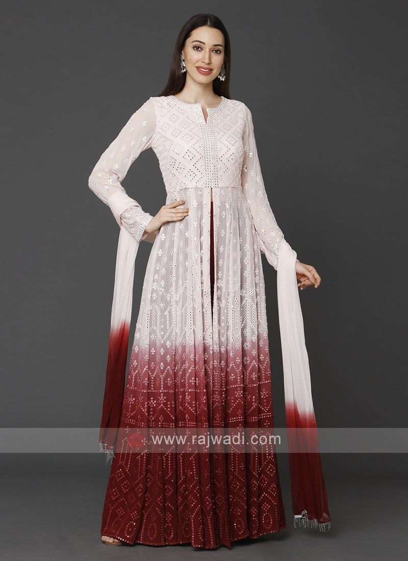 Designer Off-white & Maroon Color Palazzo Suit