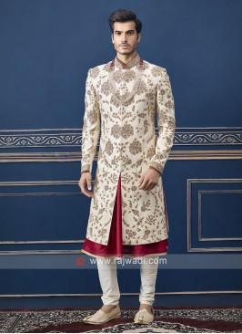 Designer off white Sherwani