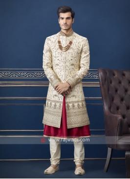Designer cream Sherwani