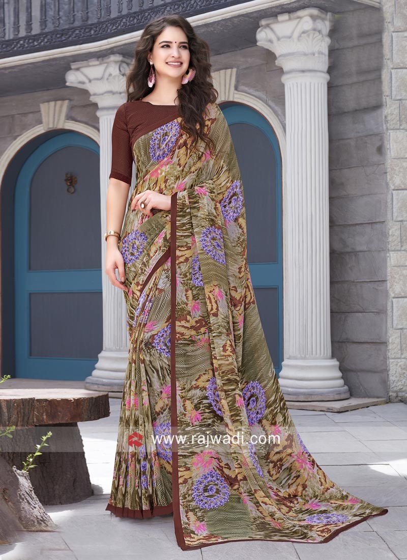 Designer Office Wear Printed Saree