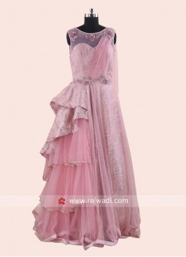 Designer One Side Layer Wedding Party Gown
