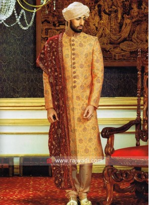 Designer Orange Color Sherwani With Velvet Stole