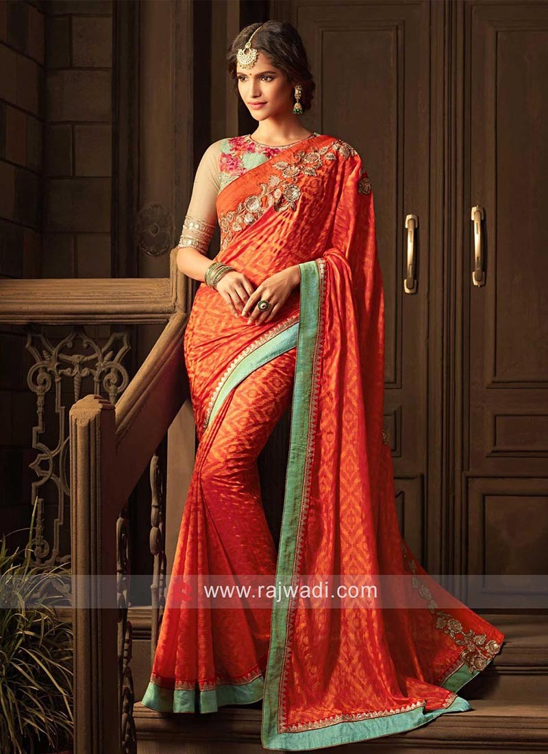 Designer Orange Shaded Saree